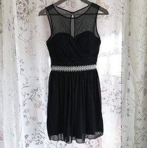 Lovely Black Formal Dress w/ Pearl Belt